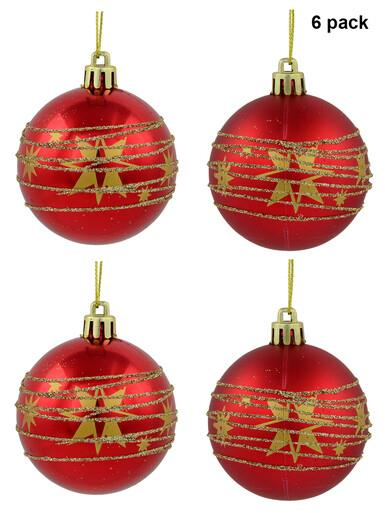 Image of Red Shiny & Matte Baubles With Gold Stars & Glitter Stripes Design - 6 x 60mm