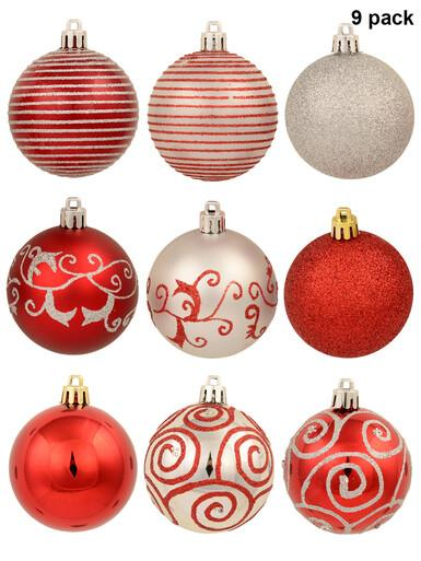 Image of Various Red & Silver Baubles With Plain & Glittered Patterns - 9 x 60mm