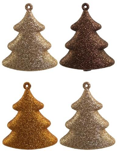 Image of Chocolate, Copper & Gold 3D Tree Hanging Decorations - 4 x 70mm