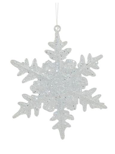 Image of Clear Glittered Snowflake Hanging Ornament - 90mm