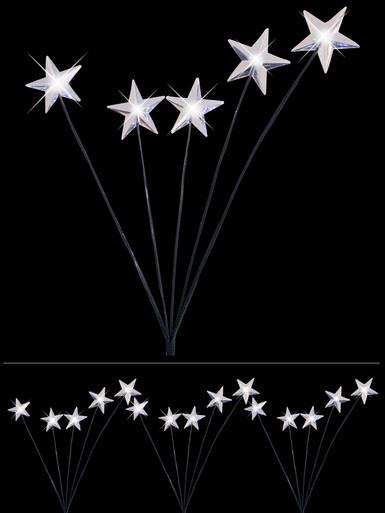 Image of 4 x Cool White Lighting Connect Super Bright LED Garden Stake Lights With Stars - 70cm
