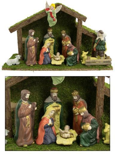 Image of 11 Piece Nativity Scene - 38cm (stable)