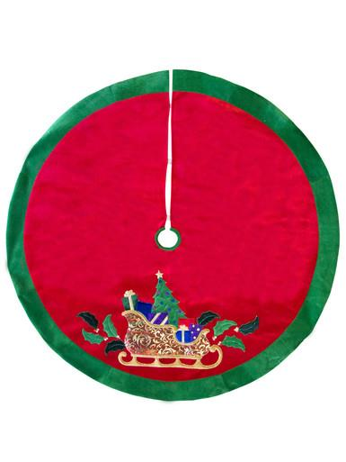 Image of Sleigh With Tree & Gifts Tree Skirt - 1.2m