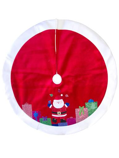 Image of Red With White Trim juggling Santa Tree Skirt - 1.2m