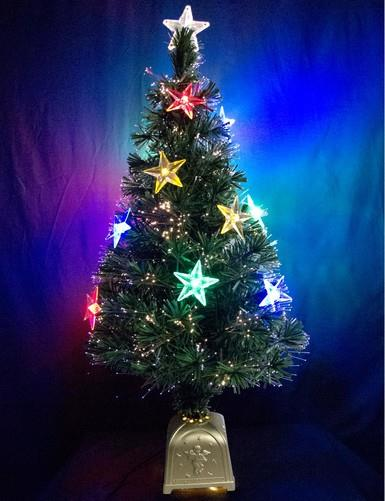 Image of Multi Colour With LED Star Decorations Fibre Optic Tree - 1.2m