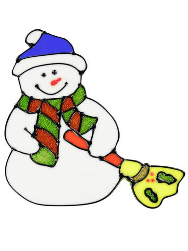 Image of Snowman With Broom Window Cling Decoration - 16cm