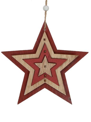 Image of Natural & Red Layered Wood Star Hanging Decoration - 15cm