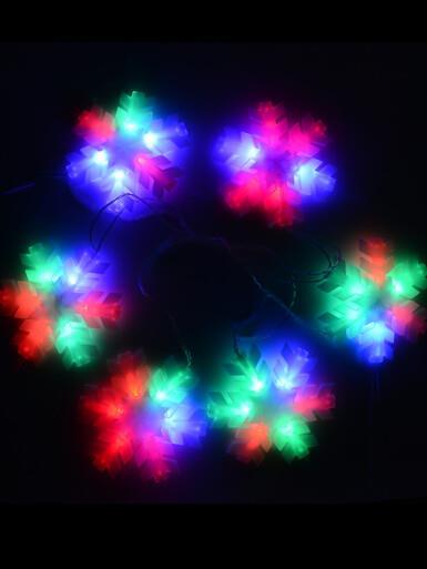 Image of Multi Colour Auto Change Twinkle LED 16cm Snowflakes - 2.3m