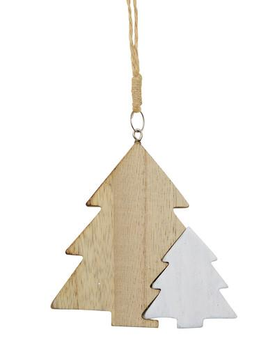 Image of Natural & White Wooden Christmas Trees Hanging Decoration - 10cm