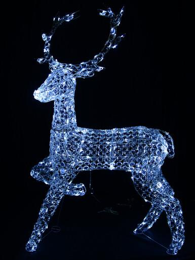 Image of Cool White LED Crystal 3D Winter Reindeer - 1.3m