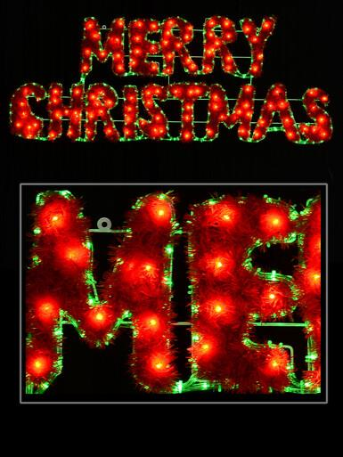 Image of Merry Christmas With Border LED Rope Light Silhouette - 1.6m