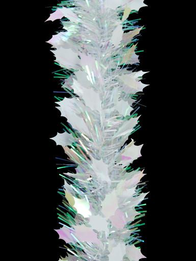 Image of White & Iridescent Holly Leaf Pine Needle Tinsel Garland - 2.7m