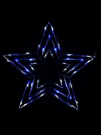 Image of Blue & Cool White LED Triple Christmas Star String Light Silhouette - 50cm
