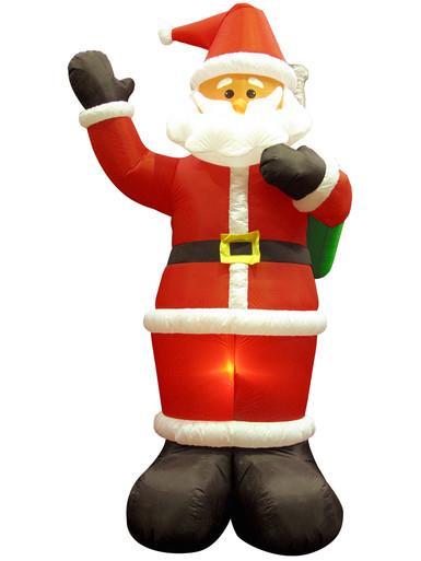 Image of Giant Santa Holding Christmas Sack Illuminated Inflatable - 3m