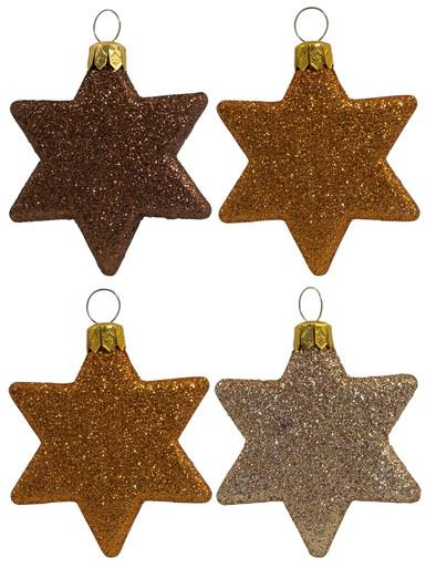 Image of Chocolate, Bronze & Gold Glittered Star Decorations - 8 x 65mm