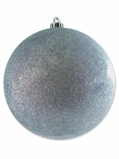 Image of Silver Glittered Large Bauble Display Decoration - 20cm