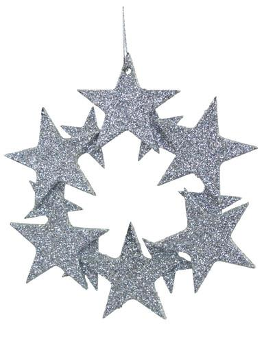 Image of Silver Glittered Star Wreath Hanging Decoration - 10cm