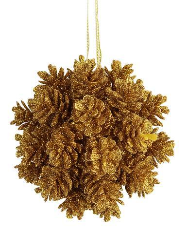 Image of Bronze Pine Cone Ball Hanging Decoration - 10cm