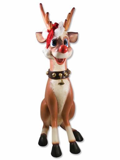Image of Cute Sitting Resin Reindeer Decor - 1.1m
