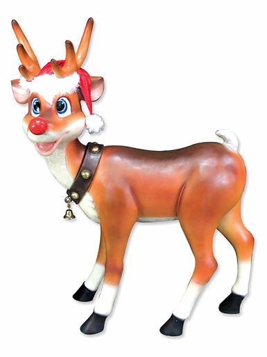 Image of Cute Standing Resin Reindeer Decor - 1.1m