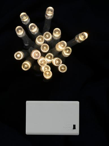 Image of 20 Warm White LED Concave Bulb Battery String Lights - 2.4m