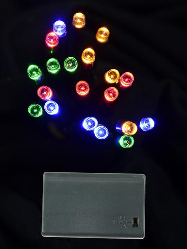 Image of 20 Multi Colour LED Concave Bulb Battery String Lights - 2.4m