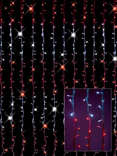Image of Synchronised Red & White LED Curtain Light Display - 3.2m