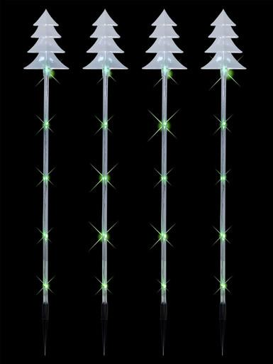 Image of 4 x Tree Tube Lighting Connect Stake with 20 Green bulbs - 70cm