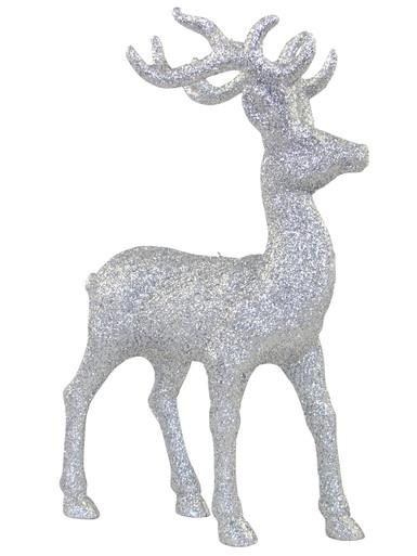 Image of Silver Standing Reindeer Ornament - 22cm