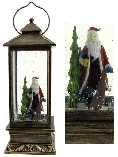 Image of Santa & Tree In Lantern Snow Globe Ornament - 27cm