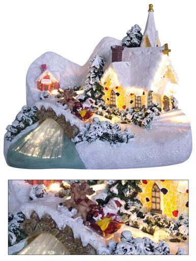 Image of Illuminated & Animated Winter Church Village Scene Ornament - 26cm
