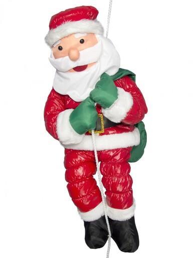 Image of Hanging Padded Santa Outdoor Decoration - 64cm