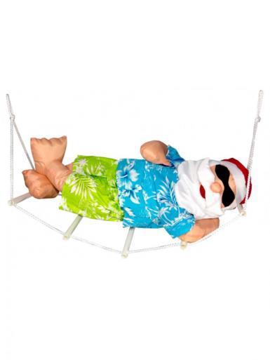 Image of Padded Summer Christmas Hammock Santa Outdoor Hanging Decoration - 65cm