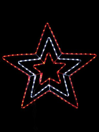 Image of Red & Cool White Triple Christmas Star LED Rope Light Silhouette - 80cm