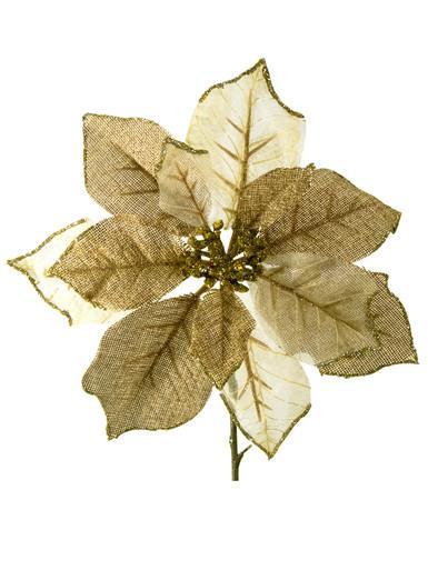 Image of Gold & Ivory Organza Poinsettia Decorative Pick - 26cm