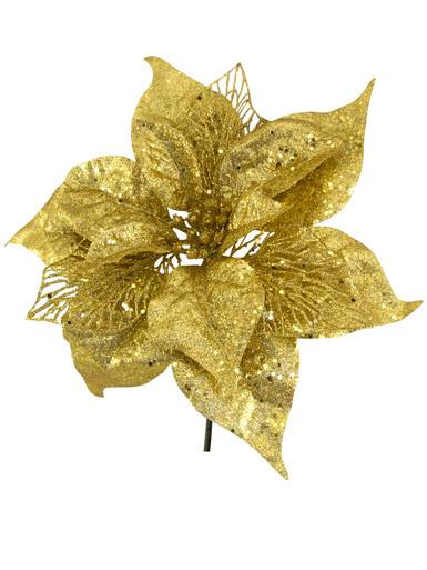 Image of Gold Sequin & Glitter Poinsettia Decorative Christmas Floral Pick - 26cm
