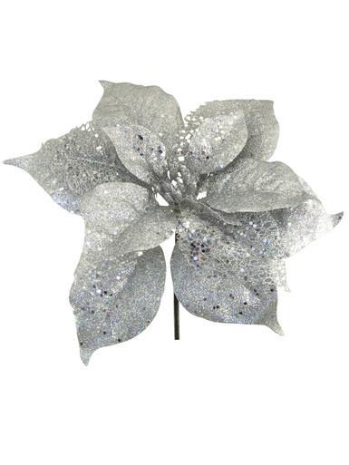 Image of Silver Sequin & Glitter Decorative Poinsettia Floral Pick - 26cm