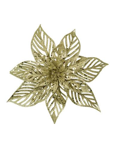 Image of Pale Gold Glittered Decorative Poinsettia Floral Pick - 15cm