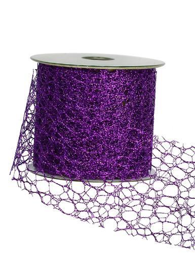 Image of Webbed Pattern Purple Ribbon - 3m
