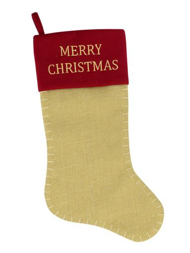 Image of Red Cuff With Merry Christmas Hessian Stocking - 49cm