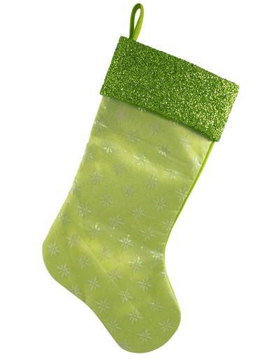 Image of Lime Green Snowflake Design Stocking - 44cm