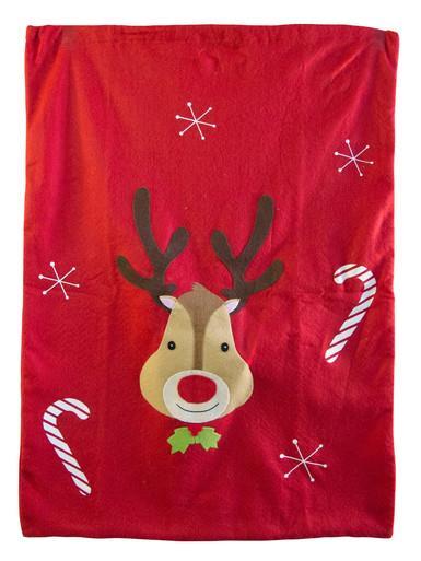 Image of Red Felt Santa Sack With Reindeer & Candy Canes - 75cm