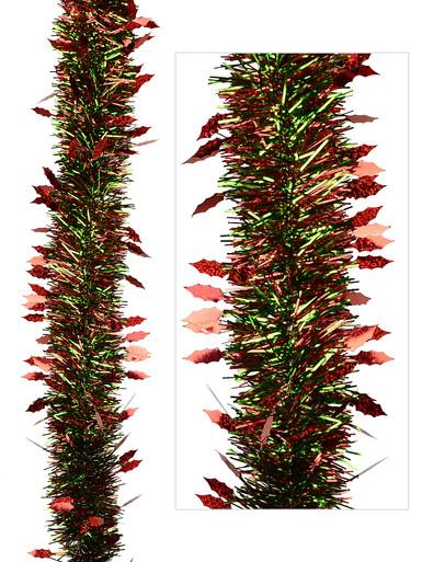 Image of Green & Red Fine Needle Tinsel With Holly Leaves - 2m