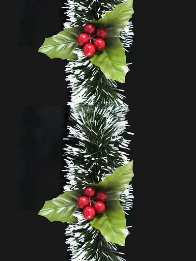 Image of White Tip Pine Needle Garland With Holly - 2.7m