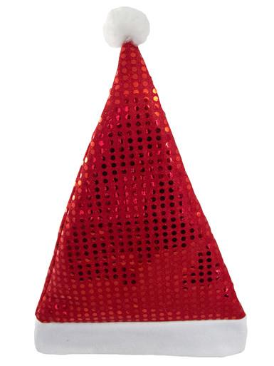 Image of Santa Plush Red Hat With Sequins - 43cm