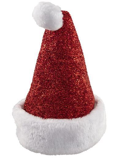 Image of Santa Plush Red Glittered Hat - 38cm