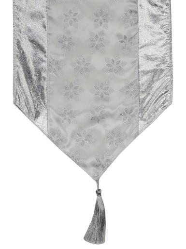 Image of Snowflake Pattern Silver & White Organza Table Runner - 1.8m