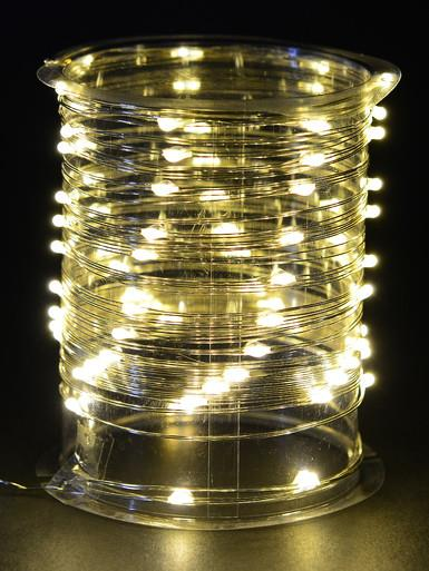 Image of 80 Warm White Micro LED Battery Silver Wire String Light - 8m