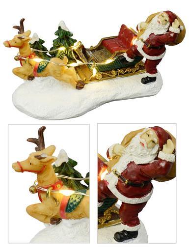Image of Santa, Sleigh & Reindeer With Illuminated Reins Resin Figurine - 12cm