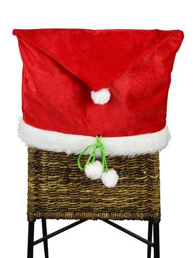 Image of Merry Christmas Red Velvet Santa Hat Chair Cover